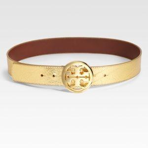 Tory Burch Gold Metallic Logo Belt Small